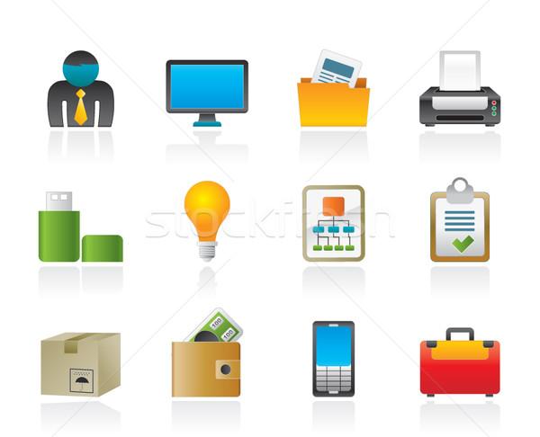 Negócio equipamentos de escritório ícones vetor computador Foto stock © stoyanh