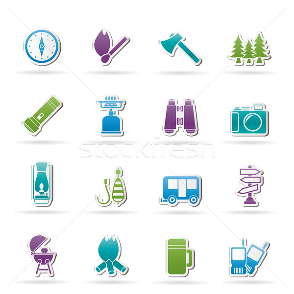 Stock photo: Camping, travel and Tourism icons