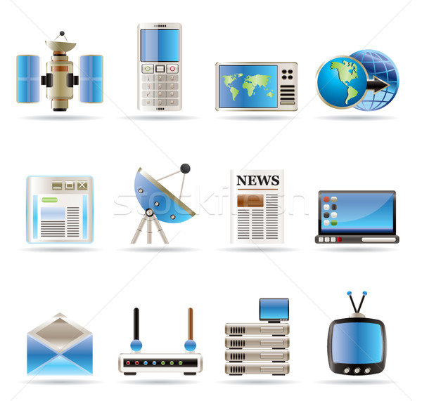 Realistisch communicatie business iconen vector Stockfoto © stoyanh