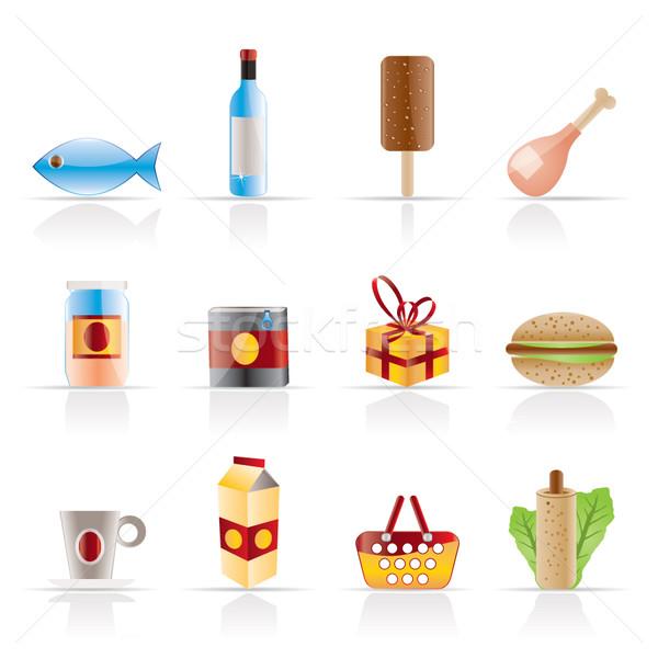 Foto stock: Compras · comida · beber · ícones · vetor