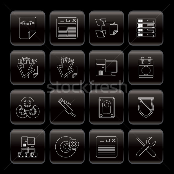 Szerver oldal számítógép ikonok vektor ikon gyűjtemény internet Stock fotó © stoyanh