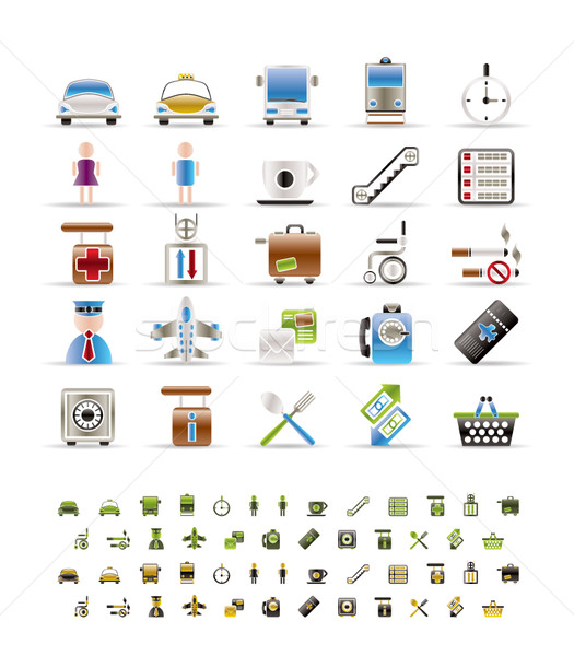 Airport, travel and transportation icons  -  vector icon set- 3 colors included Stock photo © stoyanh