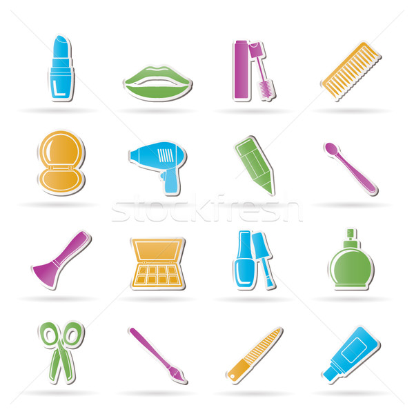 cosmetic, make up and hairdressing icons  Stock photo © stoyanh
