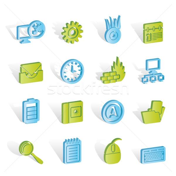 компьютер мобильного телефона Интернет иконы вектора бизнеса Сток-фото © stoyanh