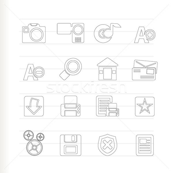 Stockfoto: Internet · website · iconen · vector · home