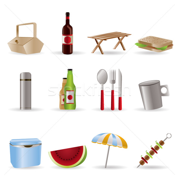 Piknik wakacje ikona wektora drewna Zdjęcia stock © stoyanh