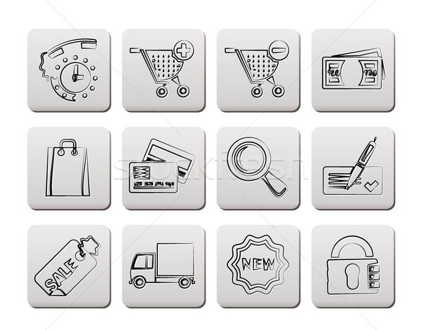 Internet pictogrammen online winkel vector klok Stockfoto © stoyanh