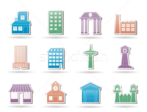 different kind of building and City icons  Stock photo © stoyanh