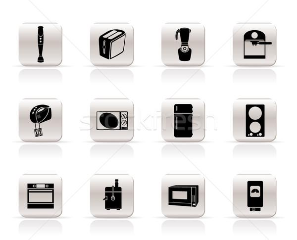 Photo stock: Simple · cuisine · maison · équipement · icônes · vecteur