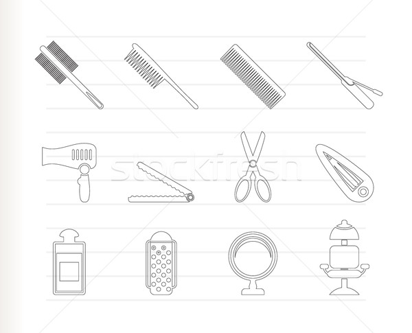 hairdressing, coiffure and make-up icons  - vector icon set Stock photo © stoyanh
