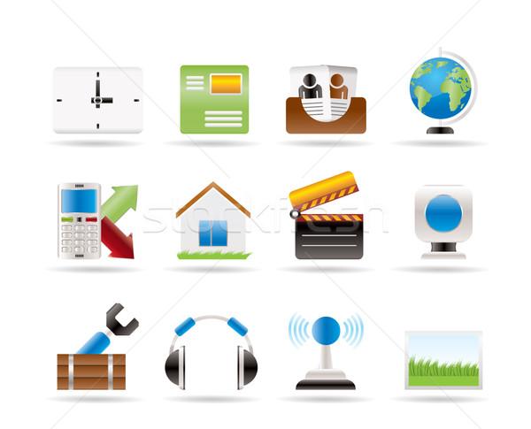 Telefone móvel ícones do computador vetor negócio casa Foto stock © stoyanh