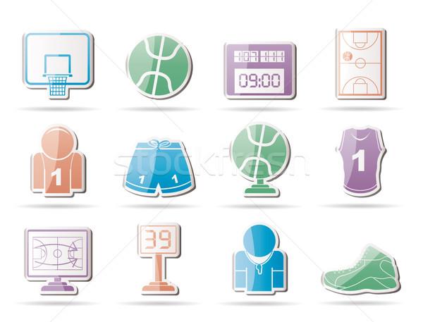 Zdjęcia stock: Koszykówki · sportu · ikona · wektora · zegar