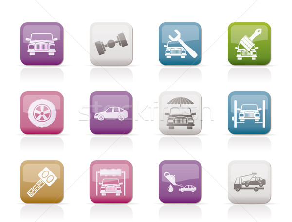 auto service and transportation icons  Stock photo © stoyanh
