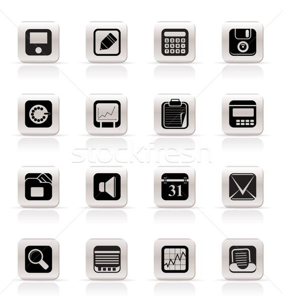 Foto stock: Simples · negócio · escritório · financiar · ícones · vetor