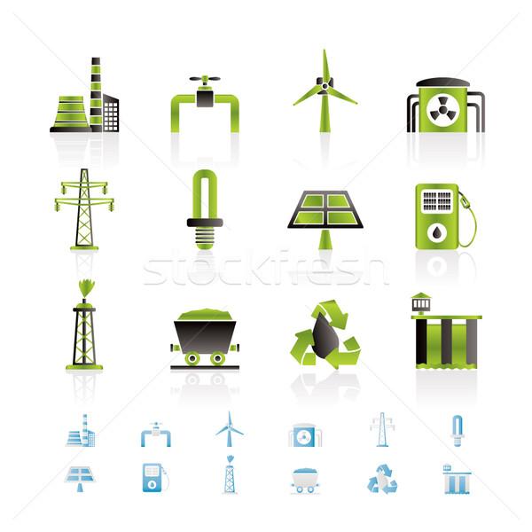 Poder eletricidade indústria ícones vetor Foto stock © stoyanh