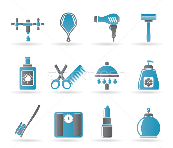 Personnelles soins cosmétiques icônes vecteur Photo stock © stoyanh