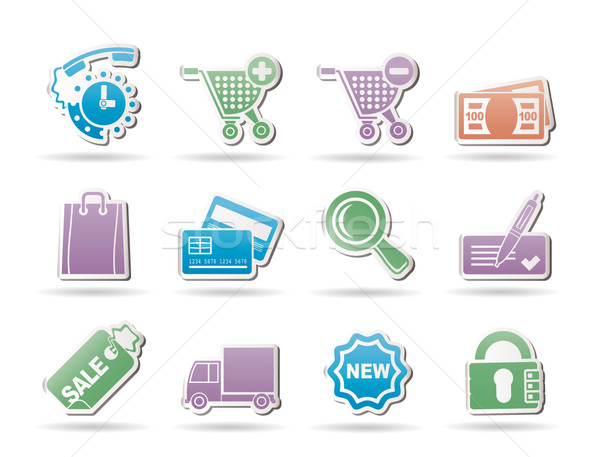 Internetes ikonok online bolt vektor ikon gyűjtemény óra Stock fotó © stoyanh