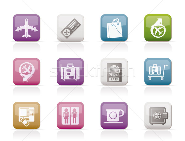 airport, travel and transportation icons 1  Stock photo © stoyanh