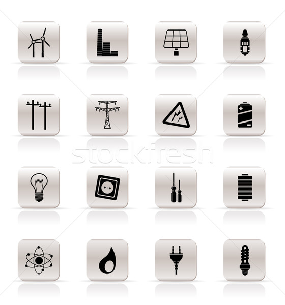Simple Electricity,  power and energy icons  Stock photo © stoyanh