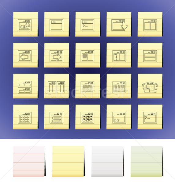 Alkalmazás programozás szerver számítógép ikonok vektor ikon gyűjtemény Stock fotó © stoyanh