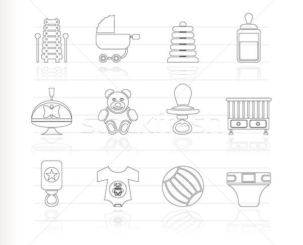 Foto stock: Criança · bebê · on-line · compras · ícones · vetor