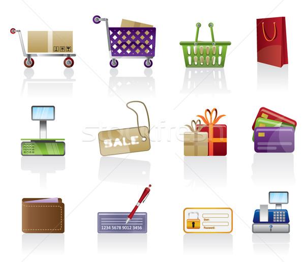 Stockfoto: Online · winkel · iconen · vector · geld