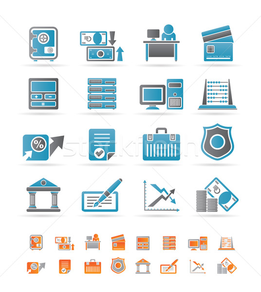 Stockfoto: Bank · business · financieren · kantoor · iconen · vector