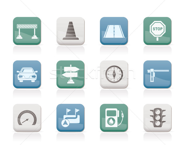 Stock photo: Road, navigation and traffic  icons