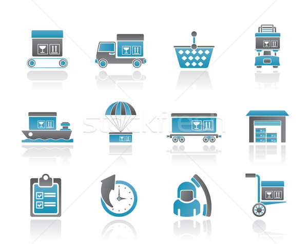 Stock photo: Logistic, cargo and shipping icons
