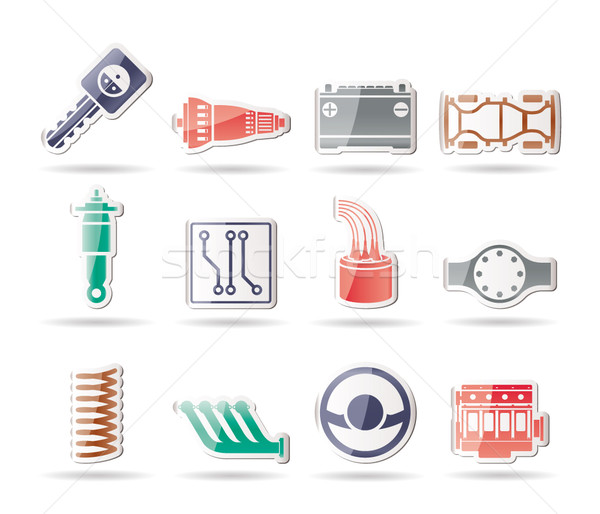 Realistic Car Parts and Services icons  Stock photo © stoyanh