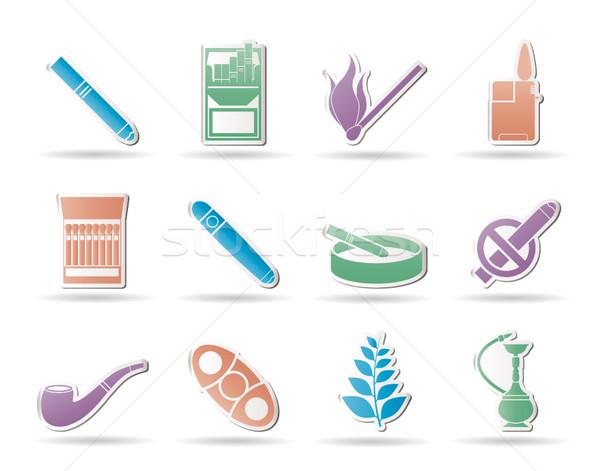 Fumar cigarrillo iconos vector madera Foto stock © stoyanh