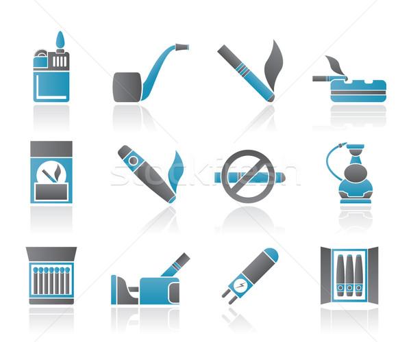 Foto stock: Fumador · cigarro · ícones · vetor · madeira