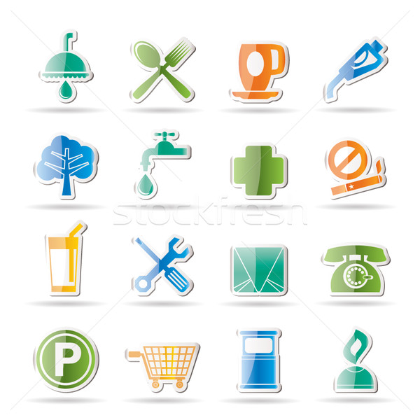 Petrol Station and Travel icons Stock photo © stoyanh