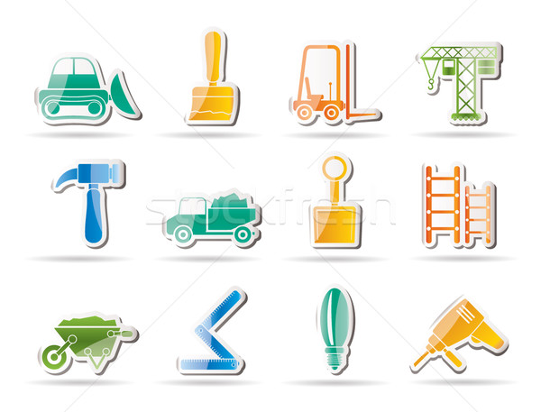 Building and Construction equipment icons Stock photo © stoyanh