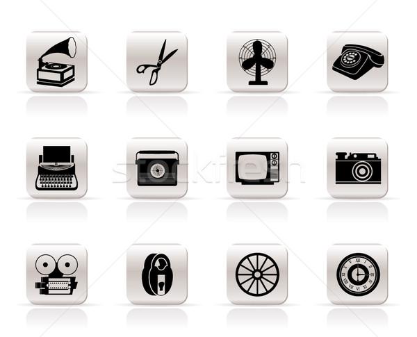 Proste retro działalności biuro obiektu ikona Zdjęcia stock © stoyanh