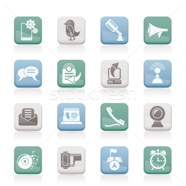 Zdjęcia stock: Telefonu · komórkowego · komunikacji · ikona · wektora · muzyki