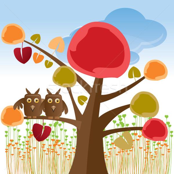 Stok fotoğraf: Valentine · ağaç · baykuşlar · çiçek · sevmek · orman