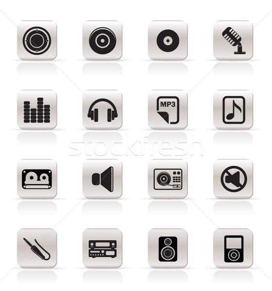 Zdjęcia stock: Proste · muzyki · dźwięku · ikona · wektora