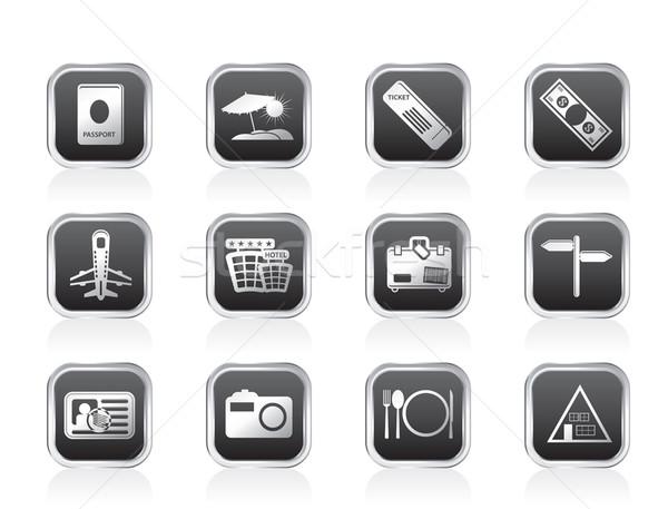 Simple viaje viaje iconos vector Foto stock © stoyanh