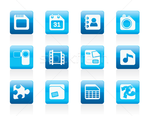 Mobiltelefon számítógép internetes ikonok vektor ikon gyűjtemény telefon Stock fotó © stoyanh