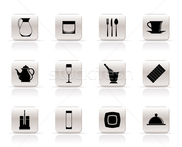 restaurant, cafe, bar and night club icons - vector icon set Stock photo © stoyanh