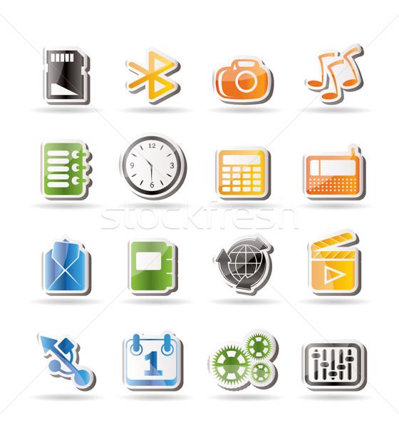 Stok fotoğraf: Telefon · performans · Internet · ofis · simgeler · vektör