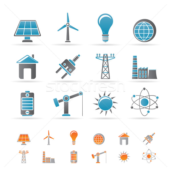 power, energy and electricity icons  Stock photo © stoyanh