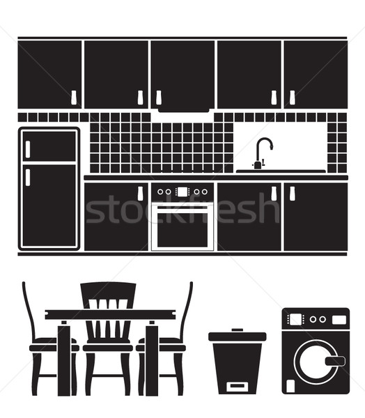 kitchen objects, furniture and equipment  Stock photo © stoyanh