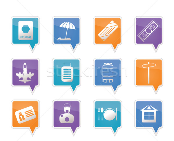 Travel, Holiday and Trip Icons Stock photo © stoyanh