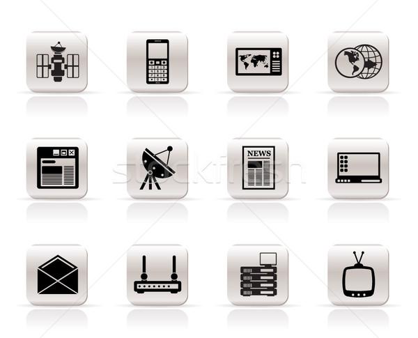 Stockfoto: Eenvoudige · communicatie · business · iconen · vector