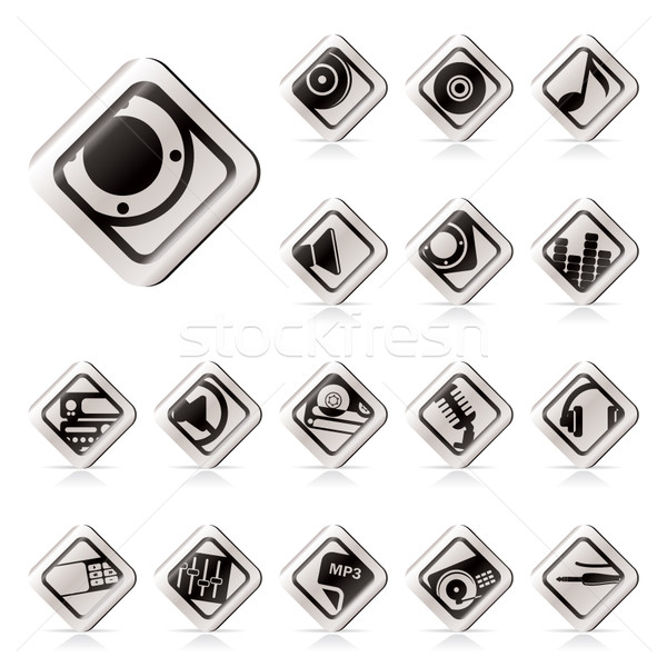 Simple Music and sound icons  Stock photo © stoyanh
