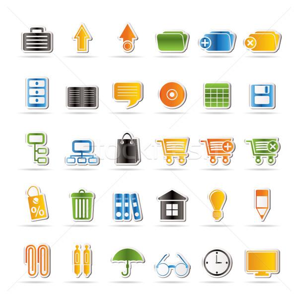Działalności biuro ikona wektora Internetu Zdjęcia stock © stoyanh