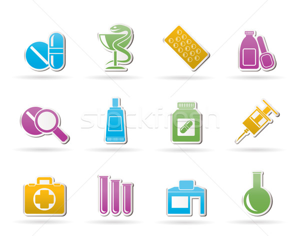 Apotheek medische iconen vector business Stockfoto © stoyanh