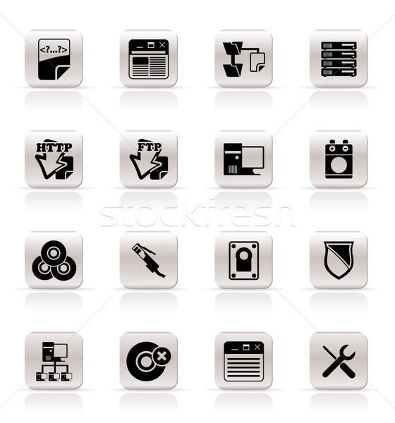 Simples servidor lado ícones do computador vetor Foto stock © stoyanh
